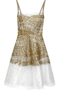 Oscar de la Renta Embroidered tulle dress